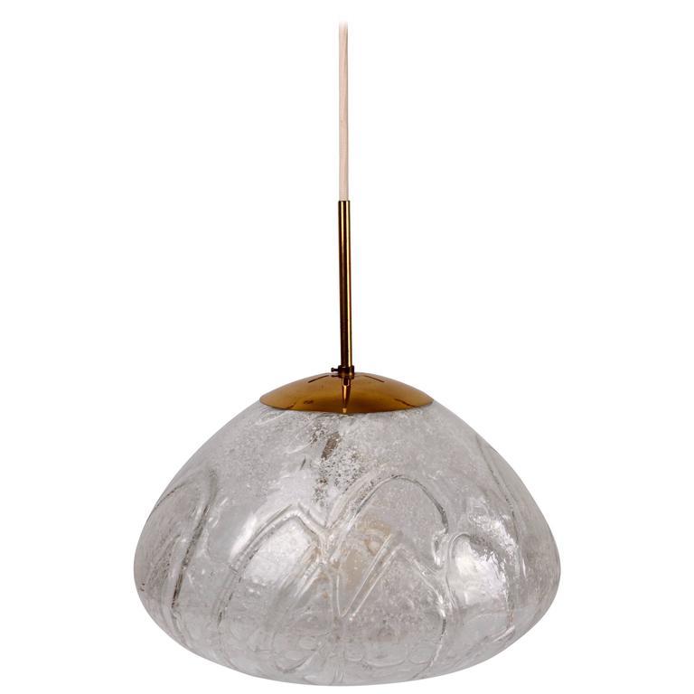 Large & Elegant German Mid Century Murano Ice Glass Round Globe by Doria 1960s