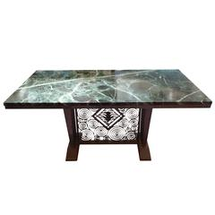 Edgar Brandt, a Green Marble and Wrought Iron Table, Stamped E Brandt