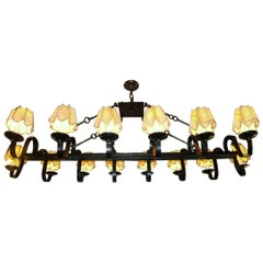 Large Horizontal Iron Chandelier