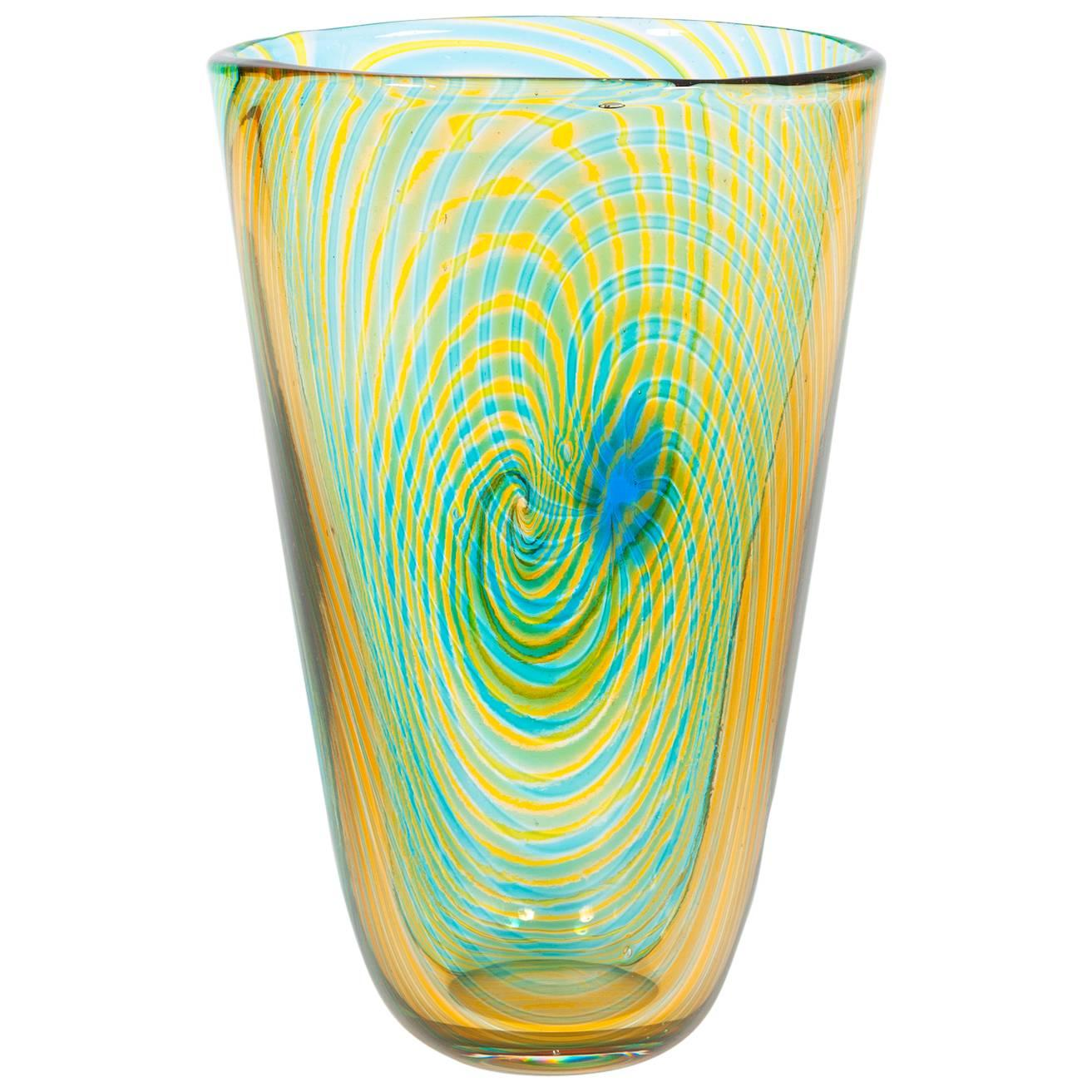 Striped Vase in blown Murano Glass Green Orange and light blue, 1990s Italy