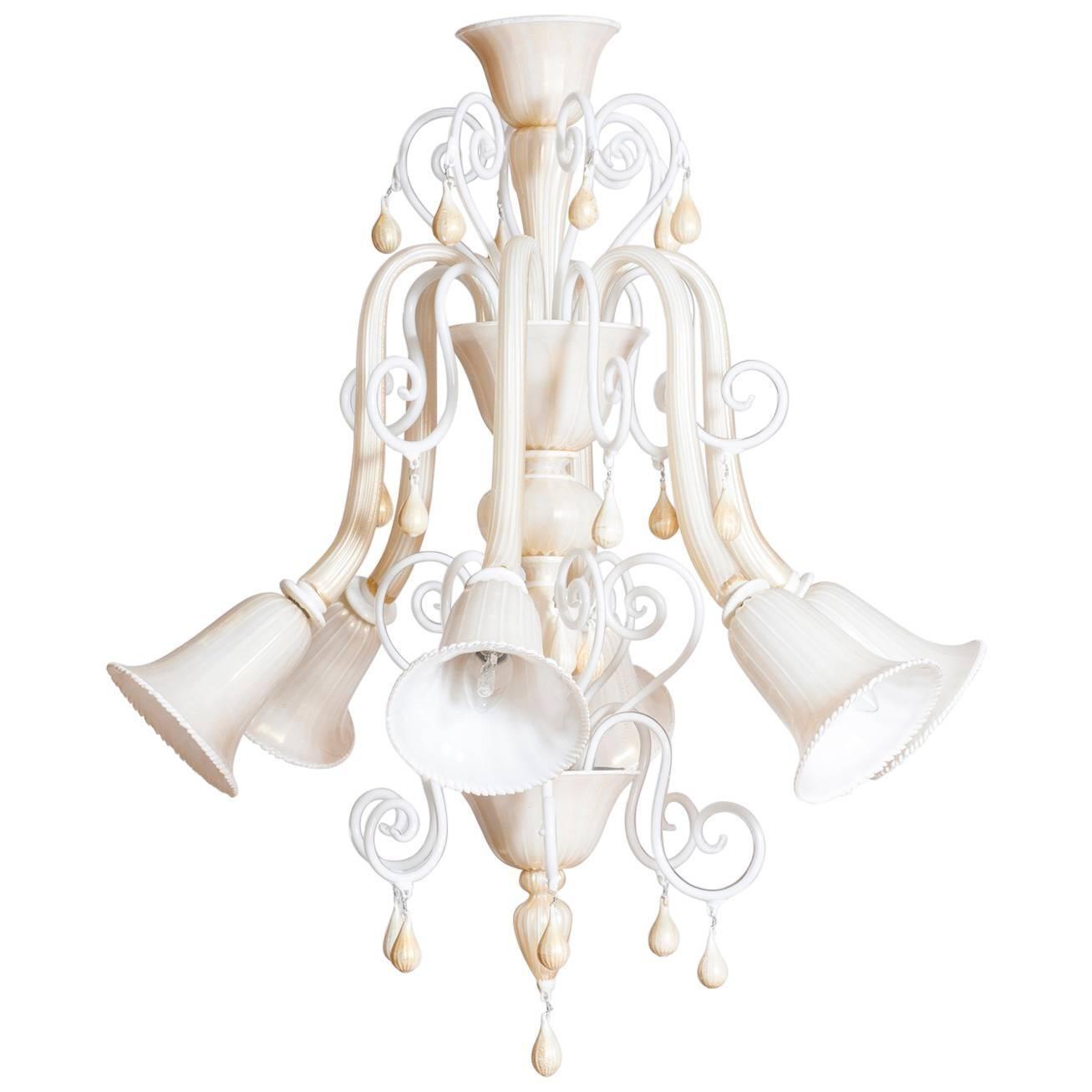 Italian Venetian, Chandelier blown Murano Glass, Ivory & Gold 24K, Seguso, 1990s
