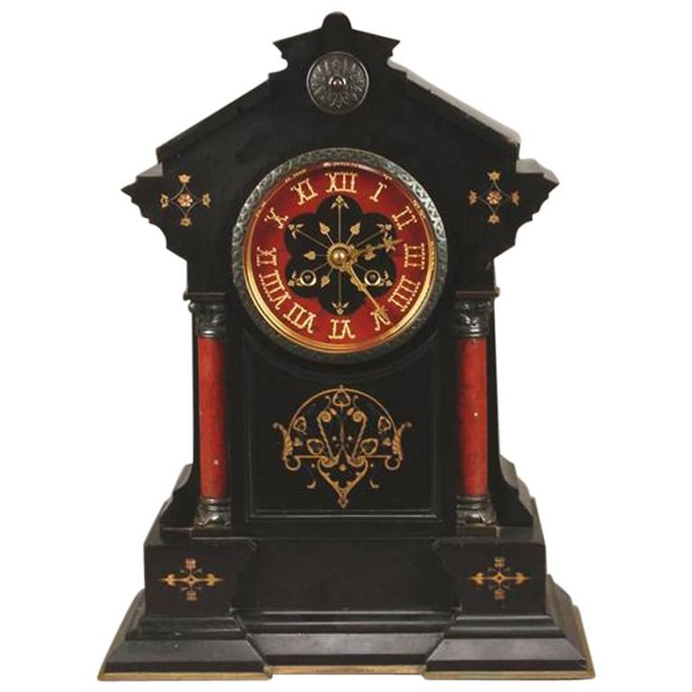 Gothic Revival Belge Noir and Red Marble Mantel Clock For Sale