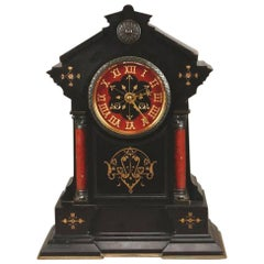 Morris and Co, In the style of, An Aesthetic Movement Gilt Marble Mantle Clock