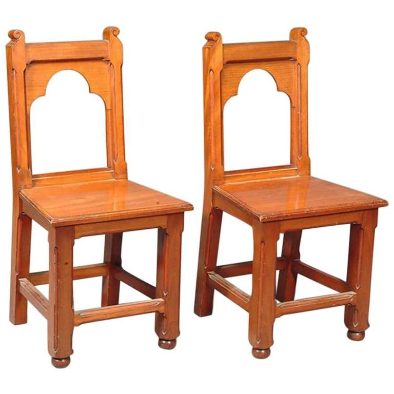 Bruce Talbert attr, A Pair of Gothic Revival Walnut Hall Chairs