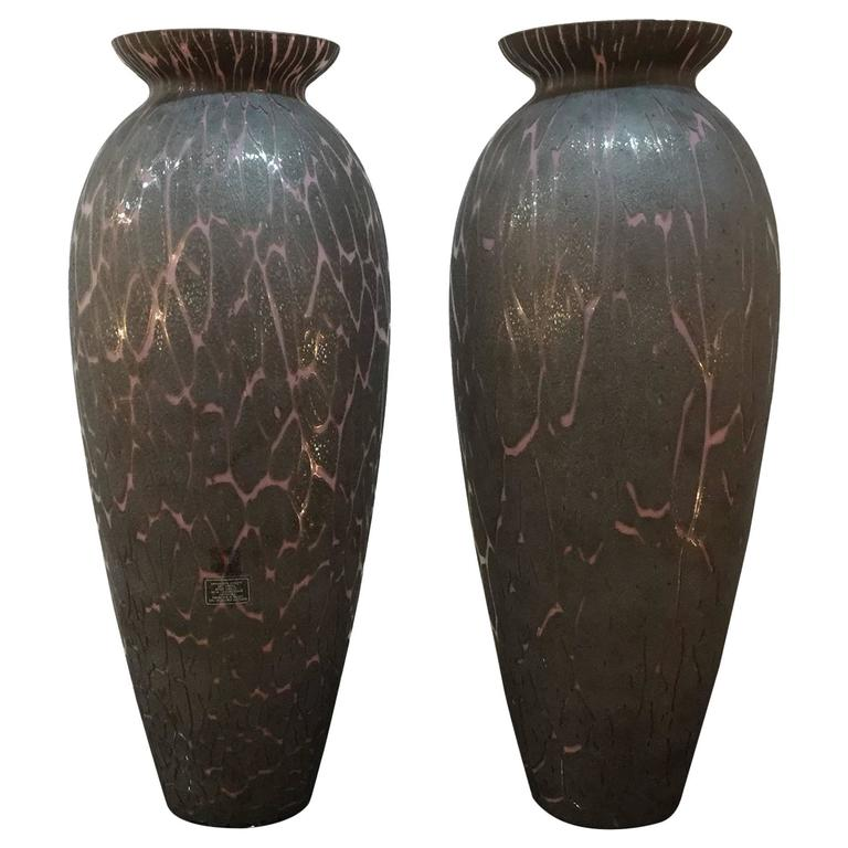 Pair of Murano Glass Vases, circa 1980