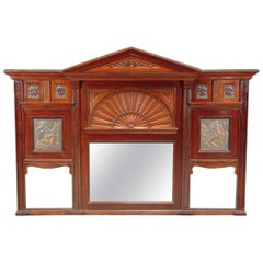 Aesthetic Movement Carved Walnut Mirror by J Smithey