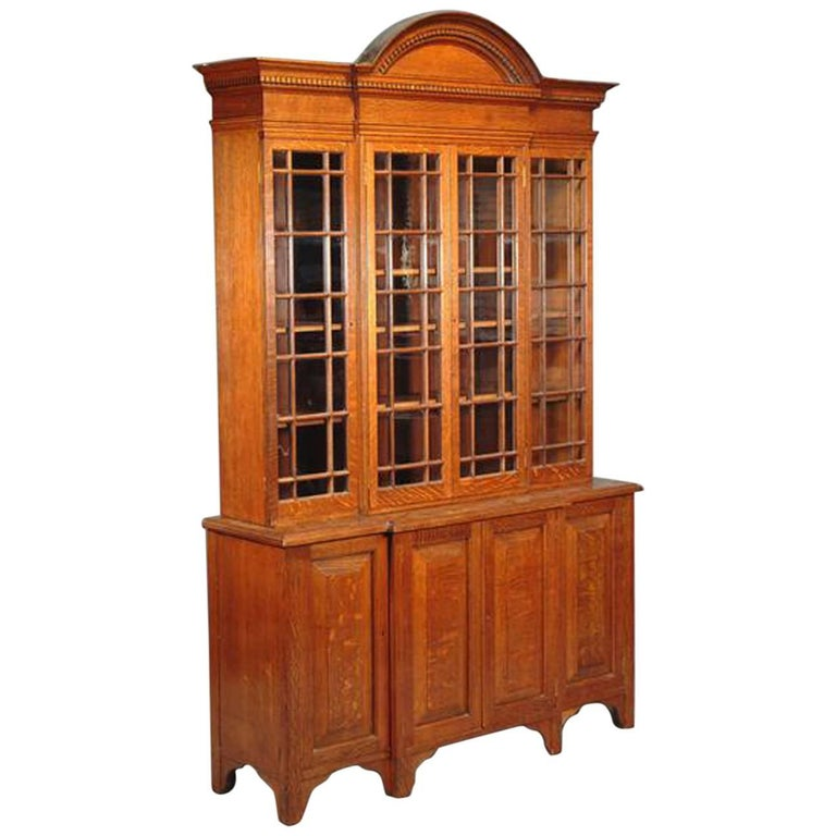 Howard & Sons Arts & Crafts Queen Anne Revival Oak Breakfront Library Bookcase For Sale