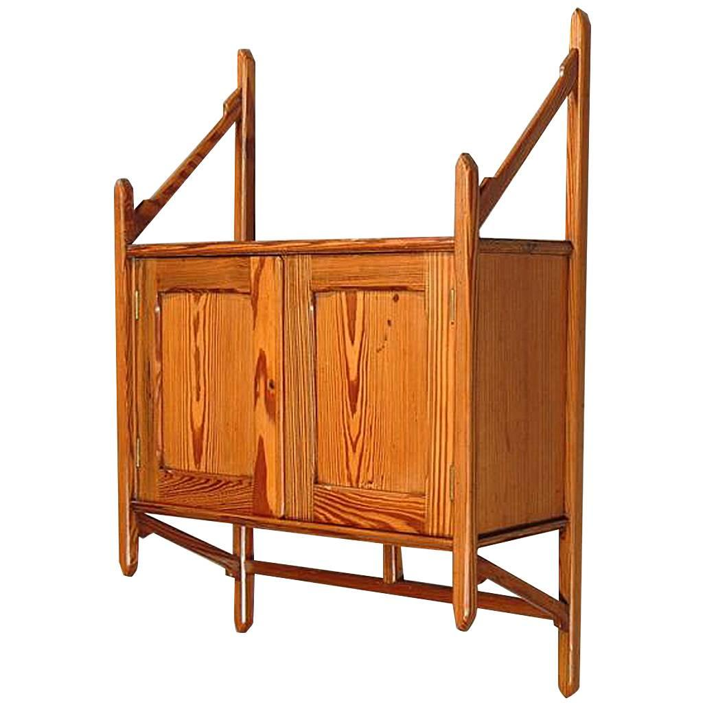 Anglo-Japanese Pitch Pine Hanging Bookcase by Howard and Sons