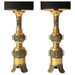 2 Massive Finely Casted James Mont  Brass Table Lamps, 1960s , USA