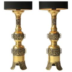 2 Massive Finely Casted James Mont Attributed Brass Table Lamps, 1960s , USA