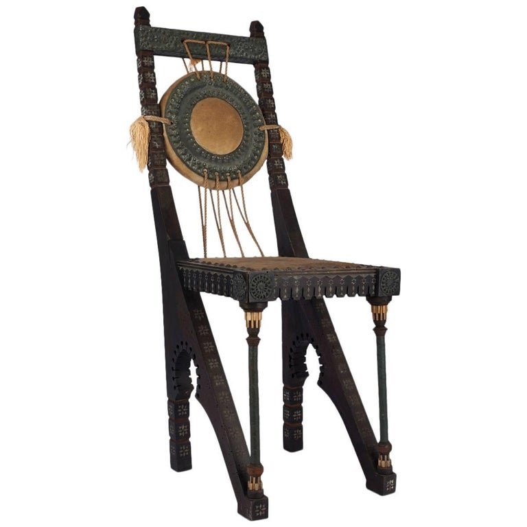Early 20th Century Italian Wooden Chair by Carlo Bugatti For Sale