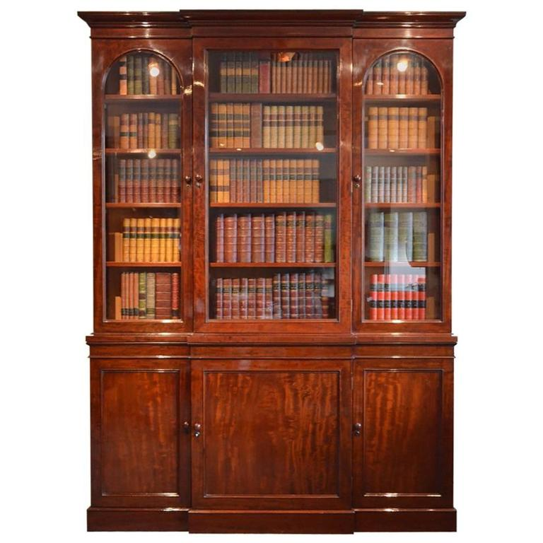Fine Quality Early Victorian Mahogany Bookcase Library