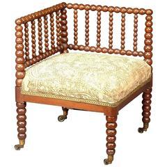 Oak Bobbin Turned Corner Chair, Attribued to Morris and Co