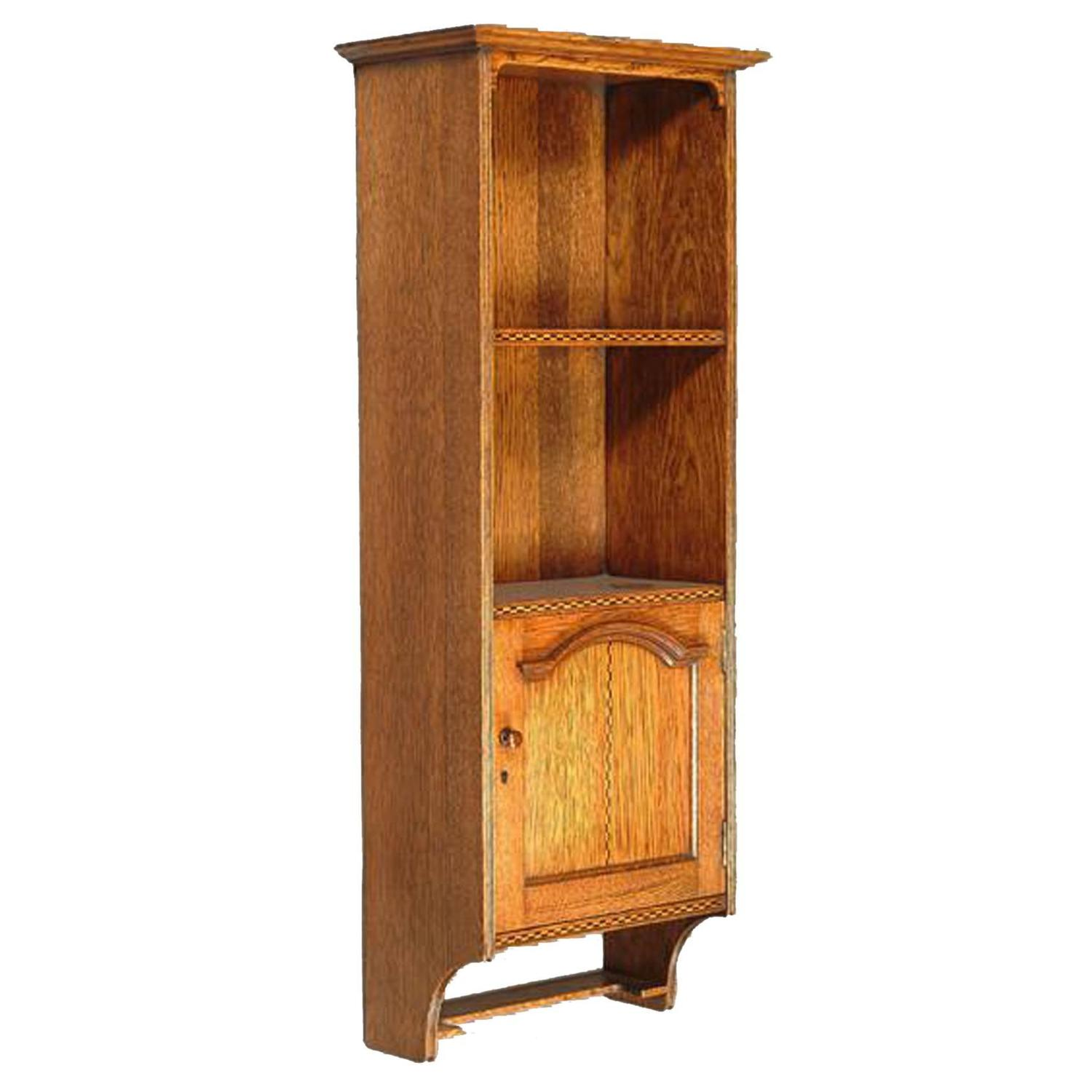 Arts and crafts oak and chequer inlaid wall cabinet for for Arts and crafts storage cabinet