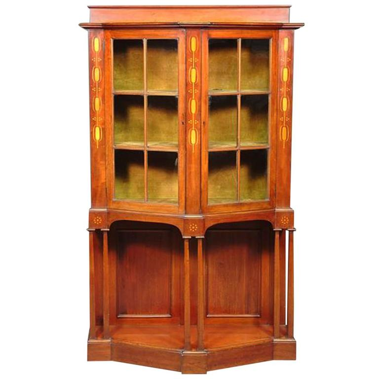 Arts and Crafts Mahogany Display Cabinet designed by G M Ellwood