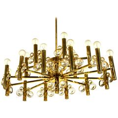 Large Eighteen-Arm Gold-Plated Brass Chandelier; Bakalowits Attributed