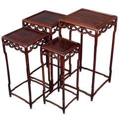Chinese Hongmu Nest of Four Square Tables, circa 1900
