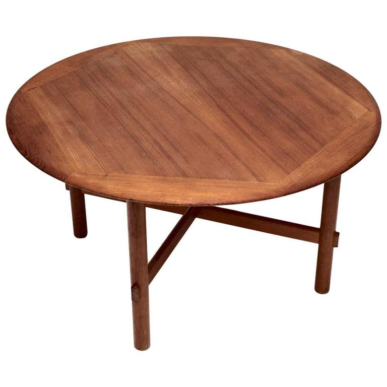 Round Coffee Table In Teak With Hexagonal Pattern At 1stdibs