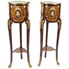 Pair of Louis XV Revival Style Cream Marble Pedestals Stands