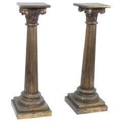Antique Victorian Pair of Corinthian Column Pedestals 19th C