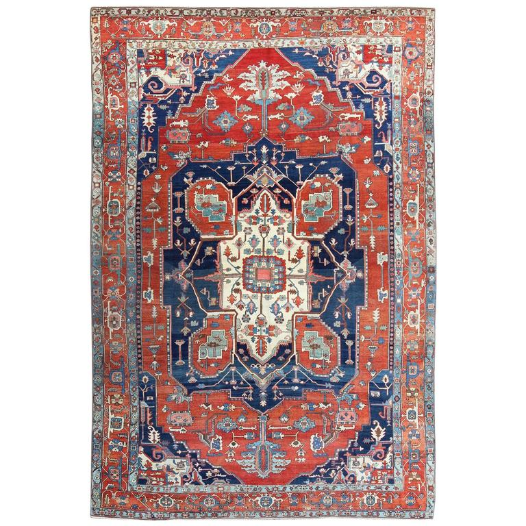 Retro Bedroom Chairs Persian Carpet Bedroom Blue Grey Bedroom Colour Scheme Bench Seat For Bedroom: Antique Persian Serapi Rug With Navy And Red For Sale At