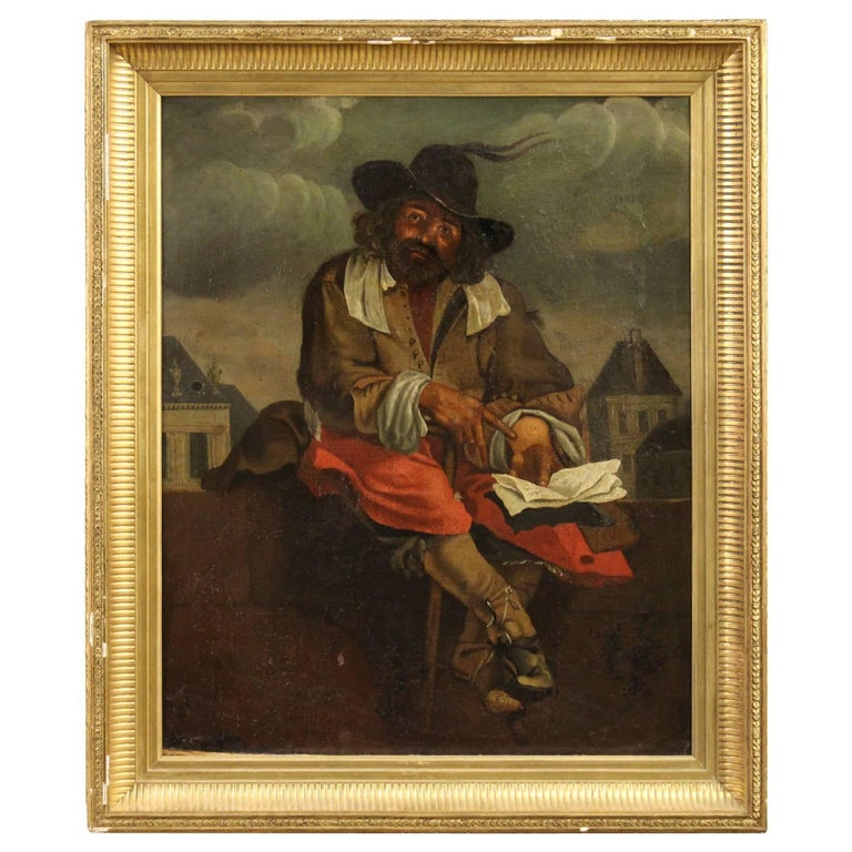 19th Century French Painting Oil on Canvas For Sale