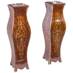 Pair of Exquisite French Marquetry Pedestals