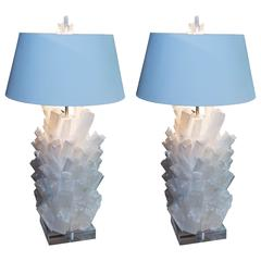 Attractive Pair of Selenite Lamps on Lucite Bases
