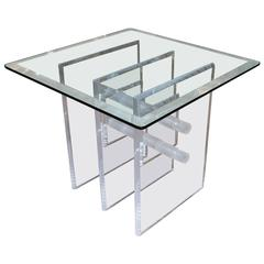 Mid-Century Lucite Occasional Table with Very Attractive Base