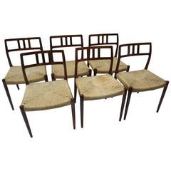 Set of Six Rosewood Niels O. Moller Chairs