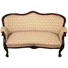 Antique Victorian Mahogany Two-Seat Settee or Sofa, circa 1870