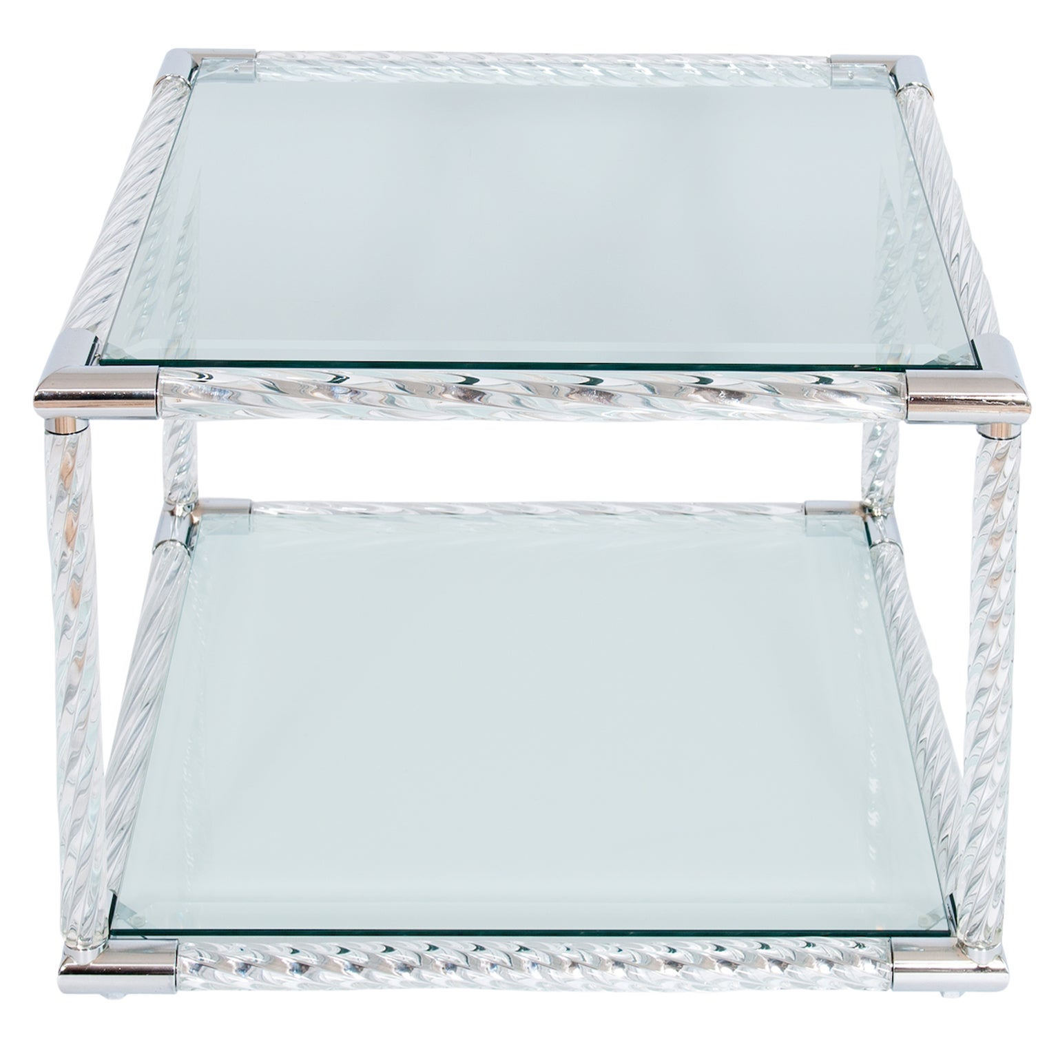 Squared Coffe Table in Blown Murano Glass clear color and chromed finishes Italy