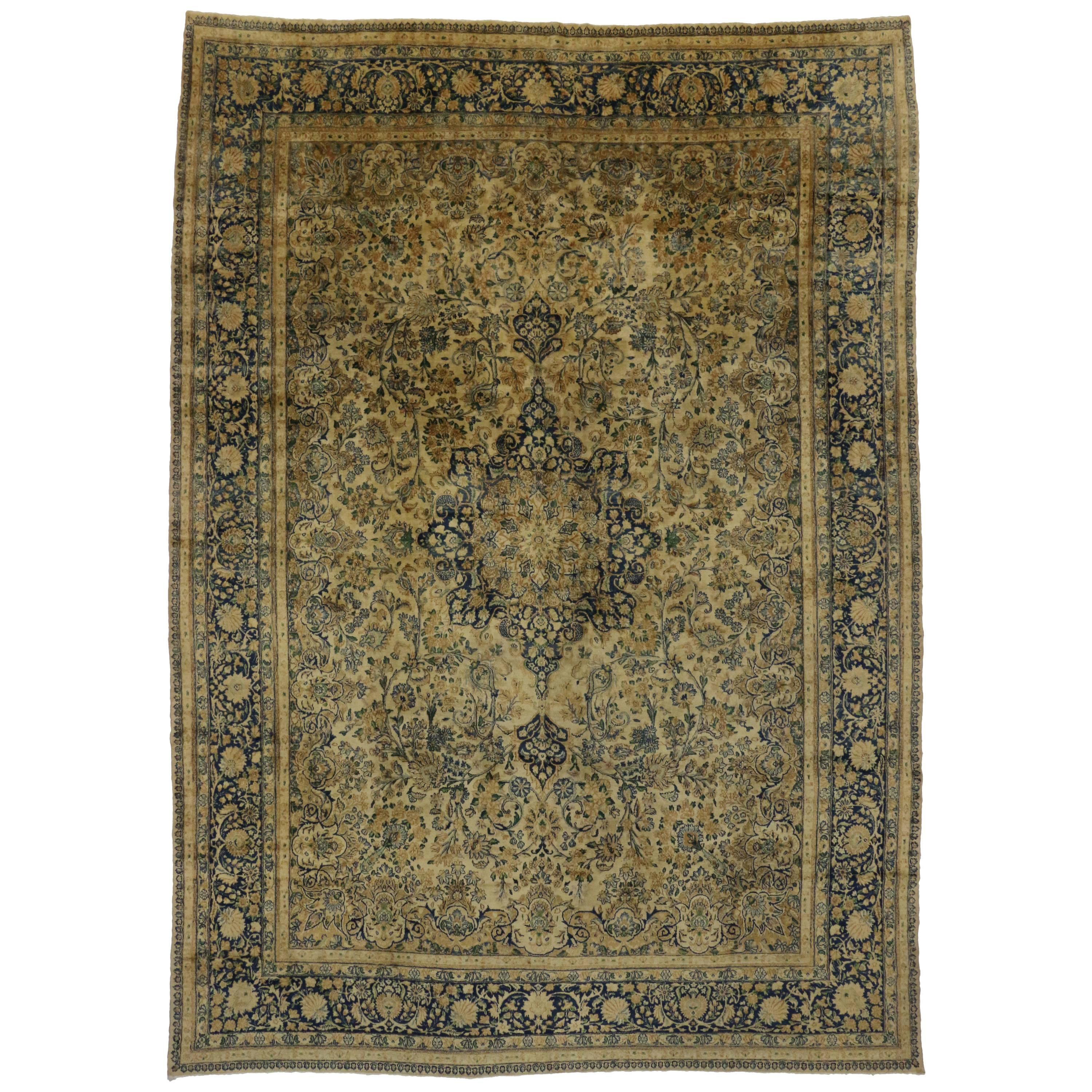 Antique Persian Kerman Rug with Hollywood Regency Style