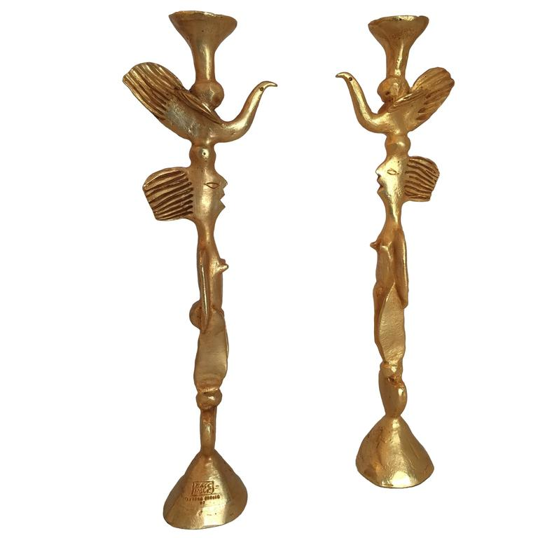 Pair of Gilt Bronze Candleholders by Pierre Casenove for Fondica