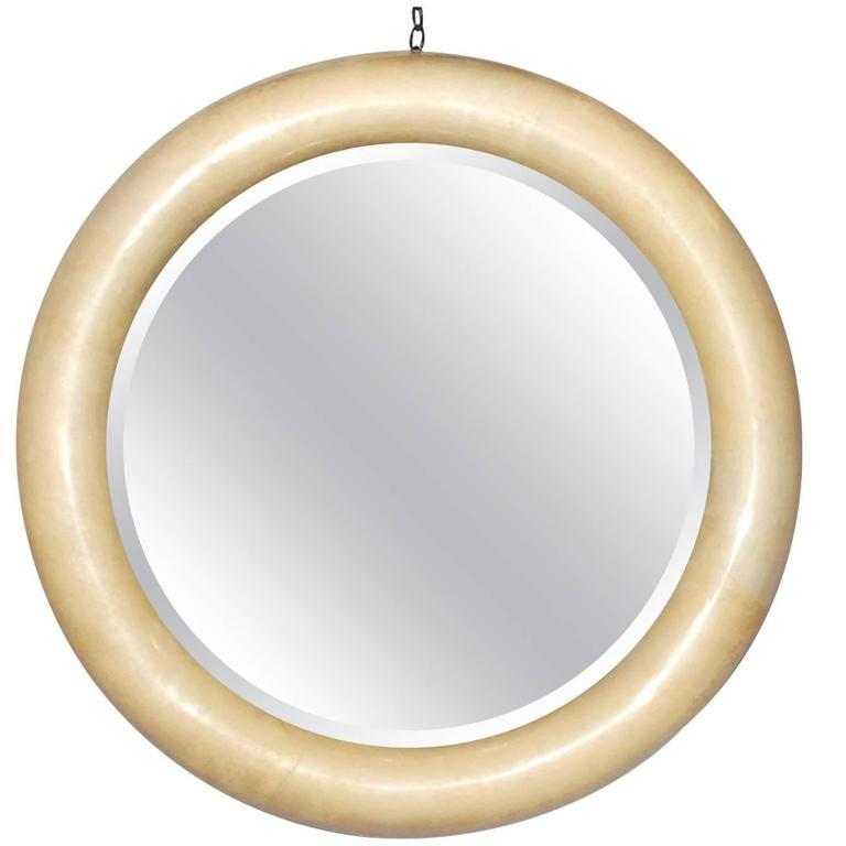 Large parchment round mirror for sale at 1stdibs for Big round mirror