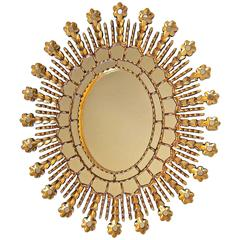 Sunburst Giltwood Oval Spanish Colonial Wall Mirror