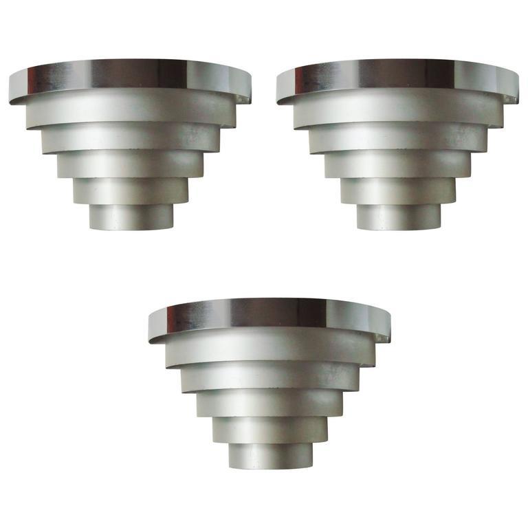 Set of Three American Art Deco Polished & Anodized Aluminium Louvered Sconces