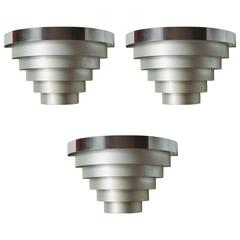 Set of Three American Art Deco Polished & Anodized Aluminium Louvered Sconces