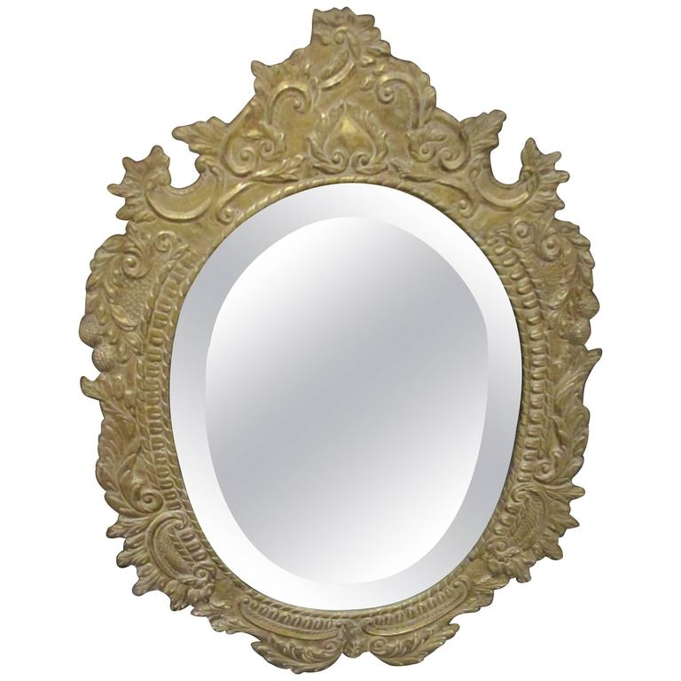 Oval Tin Metal-Clad Mirror 1
