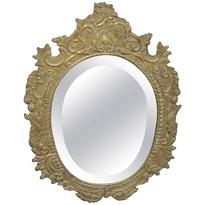 Oval Tin Metal-Clad Mirror