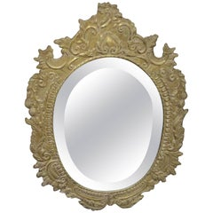 Oval Tin Metal-Clad Mirror