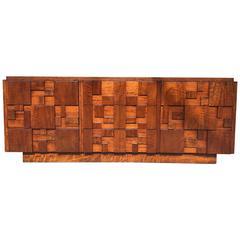Brutalist Mosaic Walnut Dresser by Altavista Lane