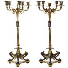 Pair of French Bronze Antique Candelabra w/ Silver Patina by Victor Paillard