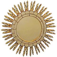Sunburst Giltwood Spanish Colonial Style Wall Mirror