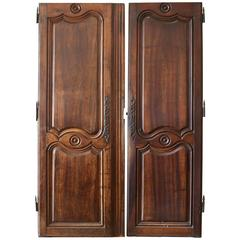 Pair of 18th Century Walnut Armoire Doors
