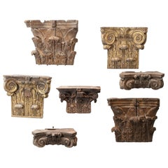Set of Seven Hand-Carved Antique 18th Century Capitals