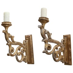 Pair of 19th Century Giltwood Sconces