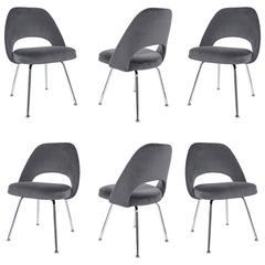 Saarinen Executive Armless Chairs in Gunmetal Velvet, Set of Six