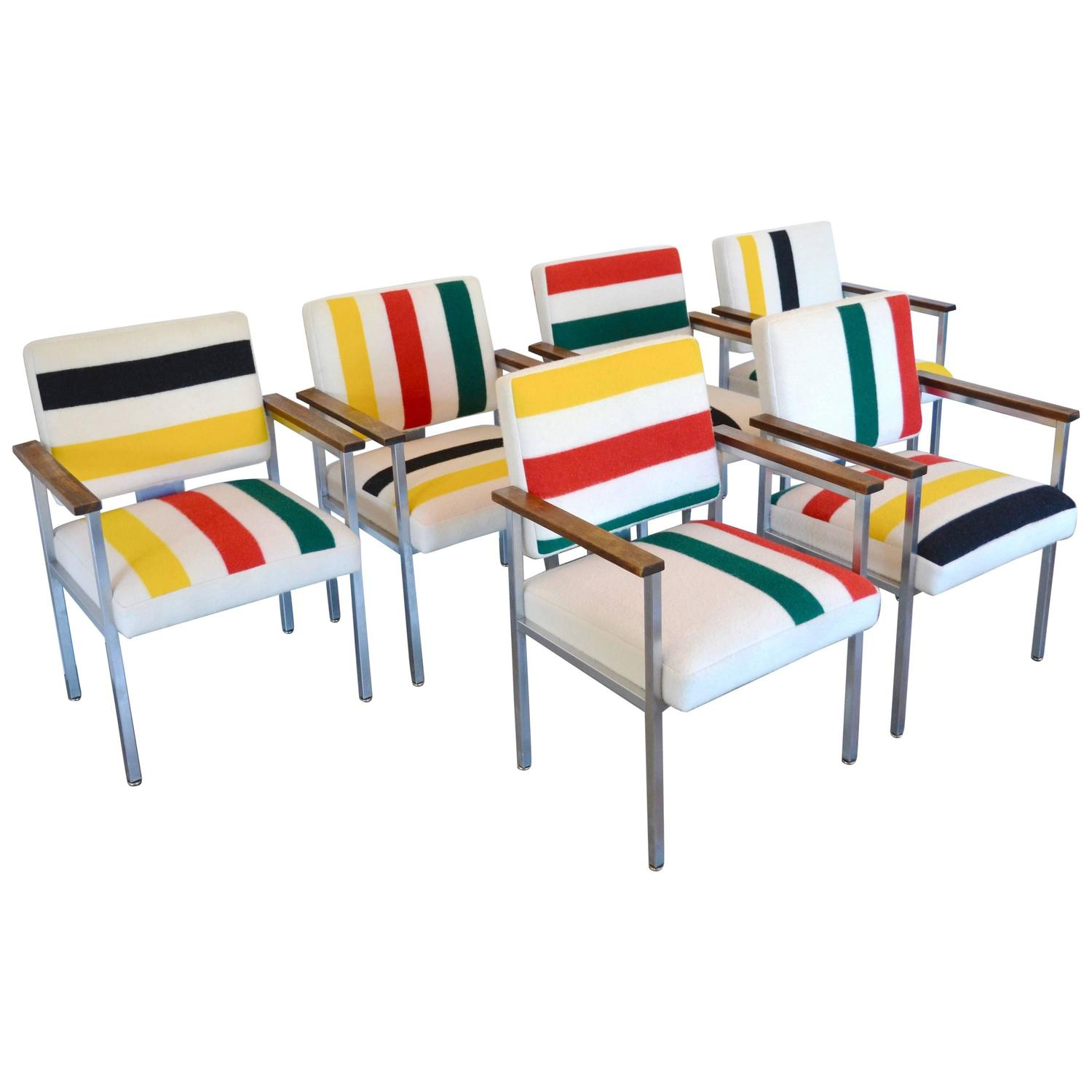 Midcentury Chairs With Stainless Frames, Wood Arms And Pendleton Stripes:  Each For Sale At 1stdibs
