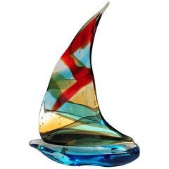 Italian Murano Glass Sailboat by Sergio Costantini